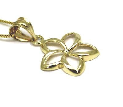 14MM 14K YELLOW GOLD HAWAIIAN HIGH POLISH SHINY OPEN PLUMERIA FLOWER PENDANT