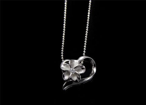 SILVER 925 HAWAIIAN 10MM PLUMERIA FLOWER SHINY FLOATING HEART PENDANT RHODIUM CZ
