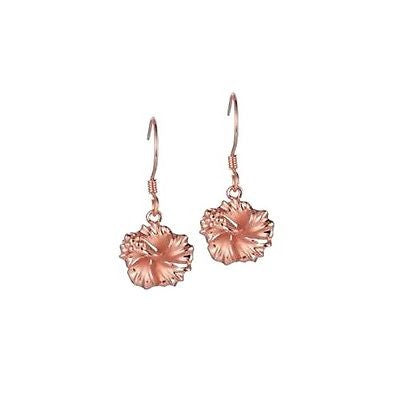 SILVER 925 ROSE GOLD PLATED HAWAIIAN HIBISCUS FLOWER DANGLE EARRINGS HOOK 10MM