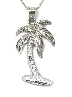 14K SOLID WHITE GOLD LARGE HAWAIIAN DIAMOND CUT PALM TREE PENDANT CHARM