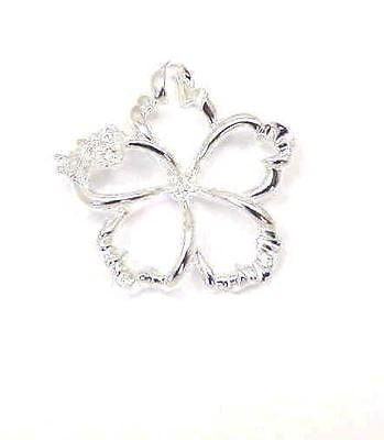 SILVER 925 HAWAIIAN OPEN FLOATING HIBISCUS FLOWER PENDANT 22MM