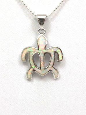 INLAY OPAL SILVER 925 HAWAIIAN HONU TURTLE PENDANT MEDIUM