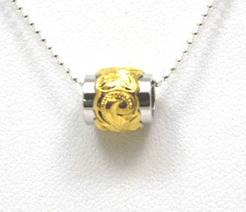 SILVER 925 THICK YELLOW GOLD HAWAIIAN PLUMERIA SCROLL DOUBLE BARREL BEAD PENDANT