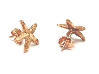 12MM 14K PINK ROSE GOLD HAWAIIAN STARFISH POST STUD EARRINGS DIAMOND CUT