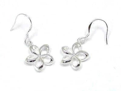 14MM SILVER 925 HAWAIIAN OPEN PLUMERIA EARRINGS WIRE