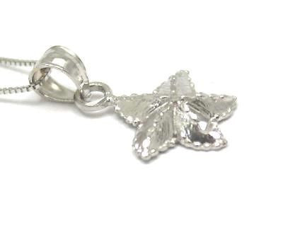 14K SOLID WHITE GOLD 11MM HAWAIIAN OCEAN SEA STAR STARFISH PENDANT CHARM