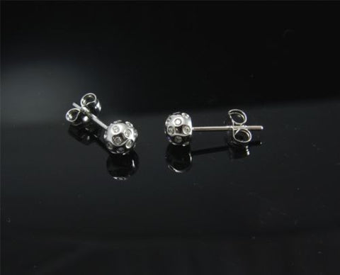 0.30CTW GENIUNE DIAMOND STUD POST EARRINGS SEMI-ROUND 14K WHITE GOLD