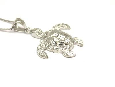 14K SOLID WHITE GOLD SPARKLY DIAMOND CUT HAWAIIAN SEA TURTLE HONU PENDANT MEDIUM