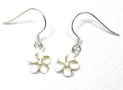 SILVER 925 HAWAIIAN PLUMERIA EARRINGS ON WIRE HOOK 2 TONE CZ 12MM