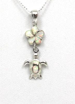 INLAY WHITE OPAL SILVER 925 HAWAIIAN PLUMERIA FLOWER DANGLE SEA TURTLE PENDANT