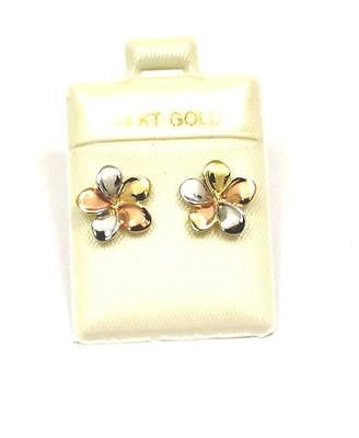 11MM SOLID 14K TRICOLOR GOLD HAWAIIAN FANCY PLUMERIA FLOWER STUD EARRINGS
