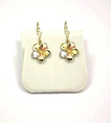 13MM SOLID 14K GOLD TRICOLOR FANCY HAWAIIAN PLUMERIA FLOWER EARRINGS LEVERBACK