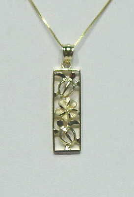 14K YELLOW GOLD HAWAIIAN CUT OUT HONU TURTLE PLUMERIA FLOWER VERTICAL PENDANT