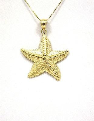 26MM SOLID 14K YELLOW GOLD HAWAIIAN STARFISH SEASTAR PENDANT DIAMOND CUT LARGE