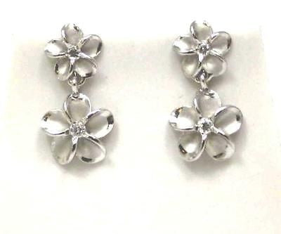 SILVER 925 HAWAIIAN 8MM DANGLE 10MM PLUMERIA FLOWER POST STUD EARRINGS RHODIUM