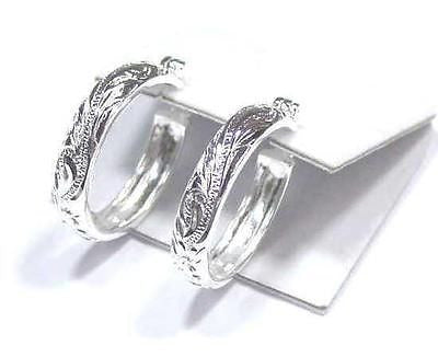 28MM SILVER 925 HAWAIIAN PLUMERIA SCROLL ROUND HOOP EARRING