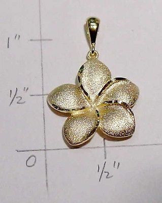 19MM SOLID 14K YELLOW GOLD HAWAIIAN PLUMERIA TROPICAL FLOWER PENDANT CHARM