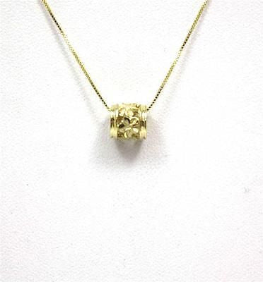 SOLID 14K YELLOW GOLD 7MM HAWAIIAN PLUMERIA FLOWER BARREL TUBE SLIDE PENDANT