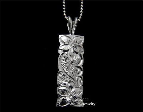 STERLING SILVER 925 HAWAIIAN PLUMERIA FLOWER QUEEN SCROLL VERTICAL PENDANT 10MM
