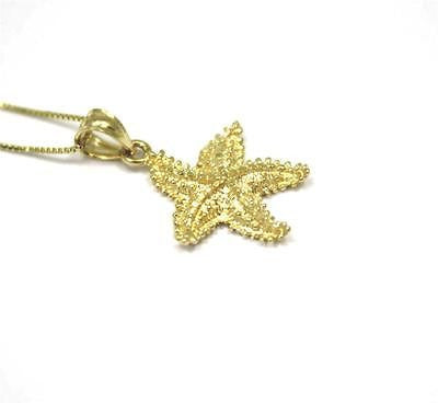 15MM 14K YELLOW GOLD HAWAIIAN STARFISH CHARM PENDANT DIAMOND CUT SMALL