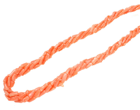 GENUINE NATURAL (NOT ENHANCED) PINK CORAL 4 STRAND BRAIDED NECKLACE 8MM 18""