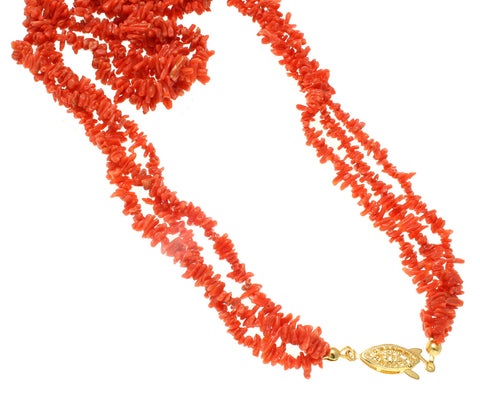 GENUINE NATURAL (NOT ENHANCED) PINK CORAL TRIPLE STRAND IN ONE NECKLACE 13MM 20""