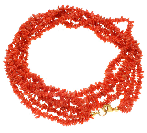 GENUINE NATURAL (NOT ENHANCED) RED CORAL TRIPLE STRAND IN ONE NECKLACE 9MM 24""