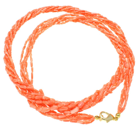 GENUINE NATURAL (NOT ENHANCED) PINK CORAL 6 STRAND BRAIDED NECKLACE 8MM 24""