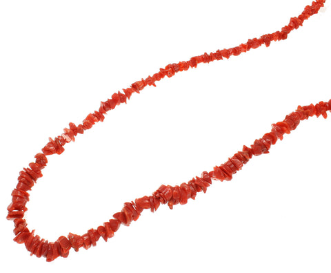 GENUINE NATURAL (NOT ENHANCED) RED CORAL GRADUATED STRAND NECKLACE 17 1/2""