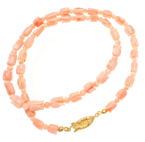 GENUINE NATURAL (NOT ENHANCED) PINK CORAL FLOWER BEAD STRAND NECKLACE 18 1/2""