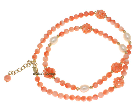 "GENUINE PINK CORAL BALL FRESH WATER PEARL NECKLACE 14K YELLOW GOLD 16""+1.5"""