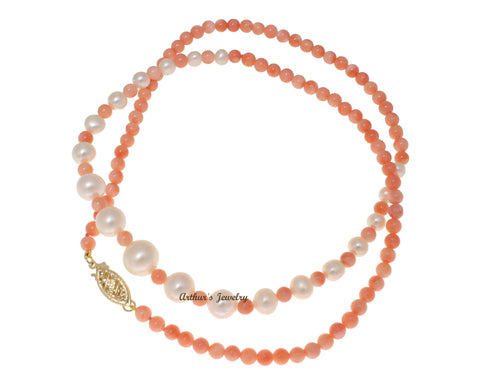 GENUINE PINK CORAL BALL FRESH WATER PEARL NECKLACE 14K YELLOW GOLD CLASP 18""