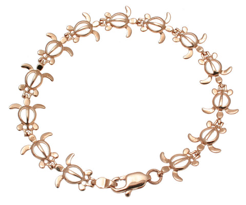 SOLID 14K PINK ROSE GOLD HAWAIIAN PETRO HONU TURTLE BRACELET