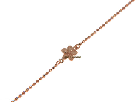 SOLID 14K ROSE GOLD 2 SIDED HAWAIIAN PLUMERIA DIAMOND CUT BEAD CHAIN ANKLET 9""