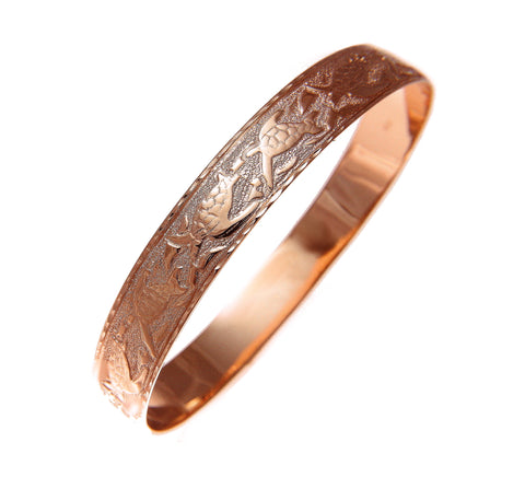 14K Pink Rose Gold custom made Hawaiian heirloom sea life honu dolphin quilt 12mm bangle