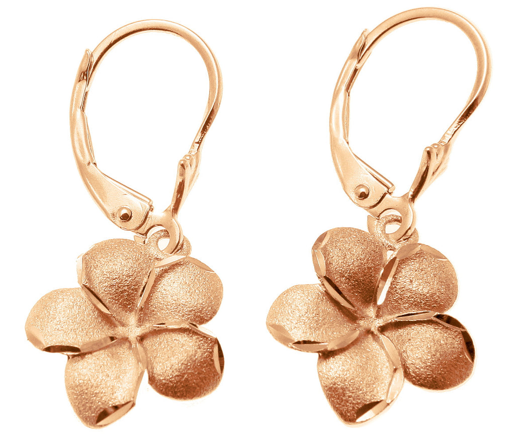 15.5MM 14K SOLID PINK ROSE GOLD HAWAIIAN PLUMERIA FLOWER EARRINGS LEVERBACK