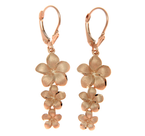 SOLID 14K PINK ROSE GOLD 3 HAWAIIAN PLUMERIA FLOWER DANGLE LEVERBACK EARRINGS