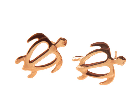 10.50MM SOLID 14K PINK ROSE GOLD MEDIUM HAWAIIAN HONU TURTLE STUD POST EARRINGS