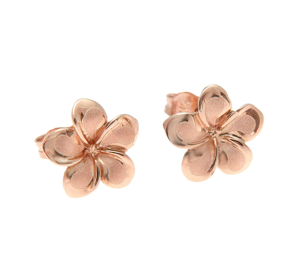9MM SOLID 14K PINK ROSE GOLD HAWAIIAN FANCY PLUMERIA FLOWER STUD POST EARRINGS