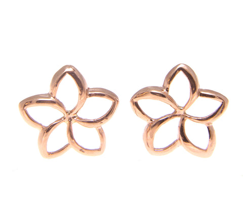 10MM 14K PINK ROSE GOLD HAWAIIAN HIGH POLISH SHINY OPEN PLUMERIA FLOWER EARRINGS