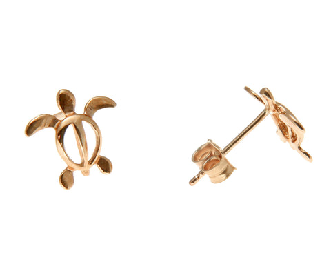 14K SOLID PINK ROSE GOLD HAWAIIAN BABY HONU TURTLE STUD POST EARRINGS