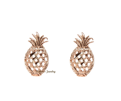 SOLID 14K PINK ROSE GOLD HAWAIIAN DIAMOND CUT PINEAPPLE STUD EARRINGS SMALL 5.5MM