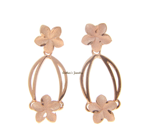 14K SOLID PINK ROSE GOLD HAWAIIAN PLUMERIA FLOWER DANGLING EARRINGS
