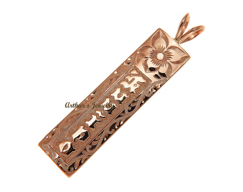 14K PINK ROSE GOLD PERSONALIZED HAWAIIAN PLUMERIA SCROLL PENDANT RAISED LETTER 12MM