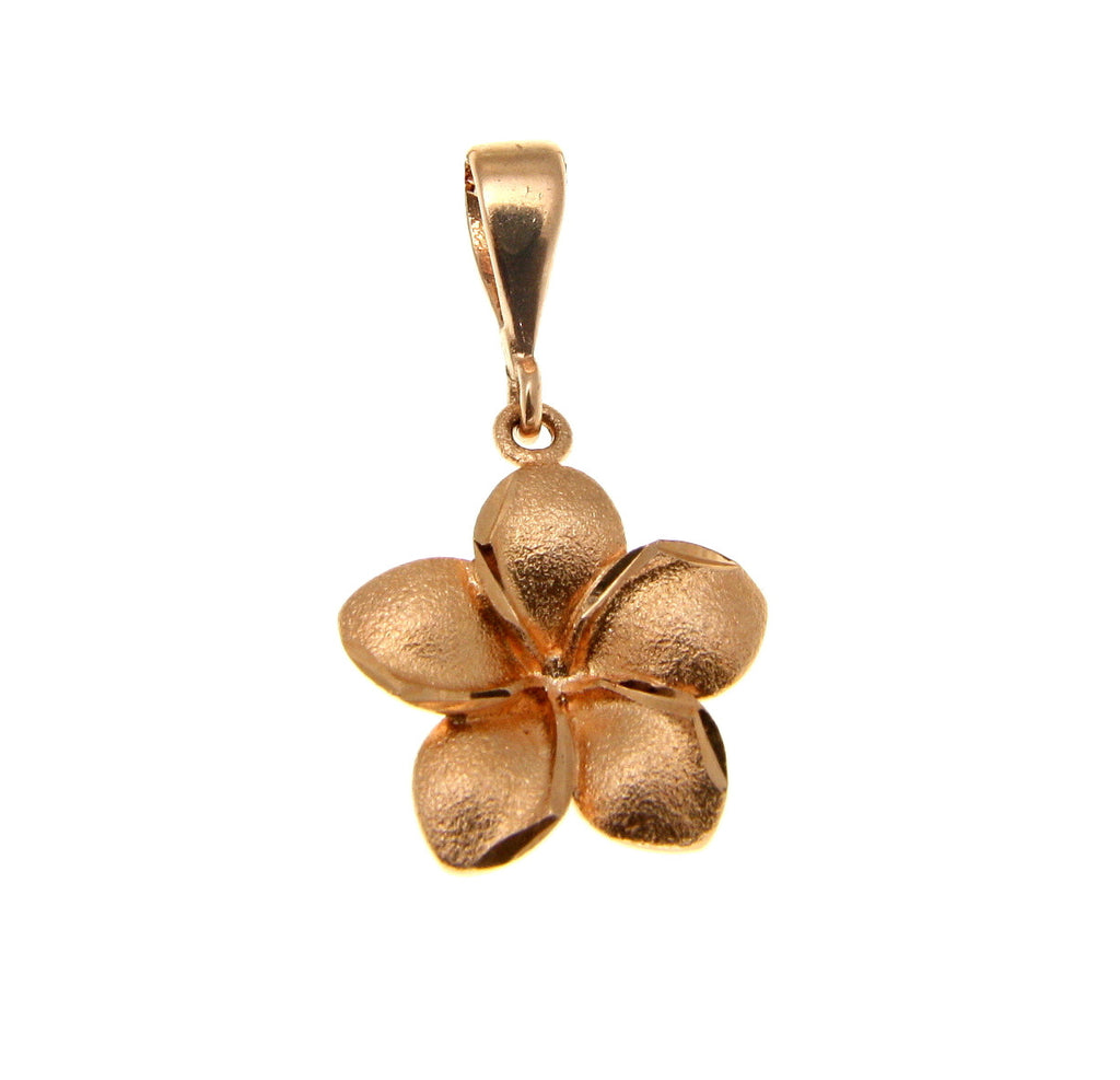 14K SOLID PINK ROSE GOLD 16MM HAWAIIAN PLUMERIA TROPICAL FLOWER PENDANT CHARM