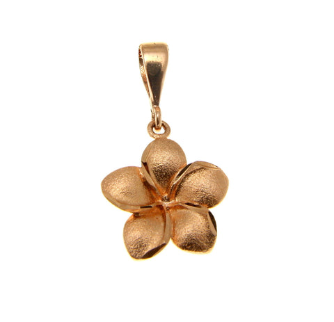 13MM SOLID PINK ROSE GOLD HAWAIIAN PLUMERIA TROPICAL FLOWER PENDANT CHARM