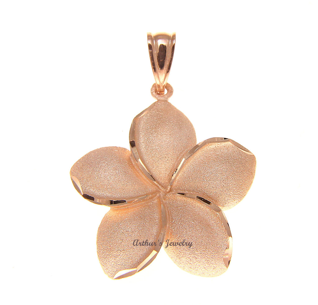 22MM SOLID 14K PINK ROSE GOLD HAWAIIAN PLUMERIA FLOWER PENDANT