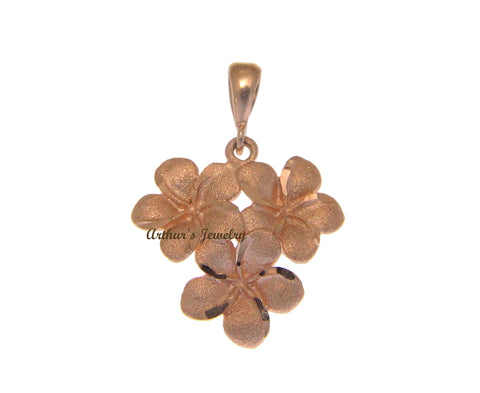 14K SOLID ROSE GOLD HAWAIIAN PLUMERIA FLOWER CLUSTER PENDANT CHARM 19.15MM