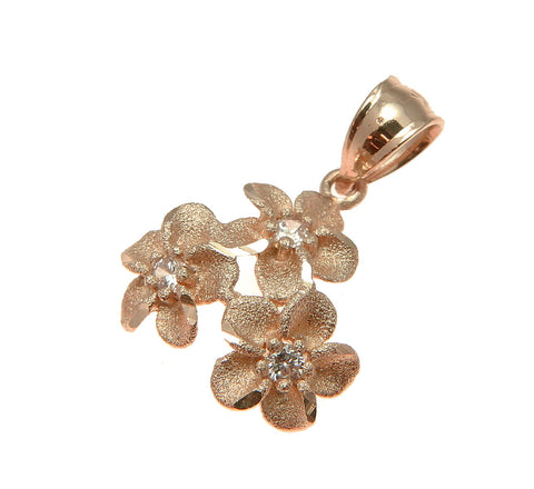 14.5MM SOLID 14K PINK ROSE GOLD HAWAIIAN 3 PLUMERIA FLOWER PENDANT CHARM