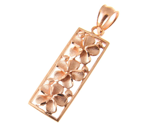 14K SOLID PINK ROSE GOLD HAWAIIAN 3 PLUMERIA FLOWER VERTICAL PENDANT 9MM